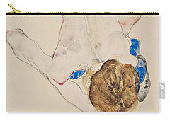 Nude With Blue Stockings, Bending Forward Carry-all Pouch
