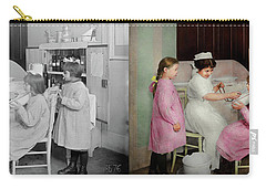 Carry-all Pouch featuring the photograph Nurse - Playing Nurse 1918 - Side By Side by Mike Savad
