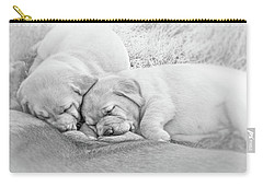 Carry-all Pouch featuring the photograph Nursing Labrador Retriever Puppies Black And White by Jennie Marie Schell