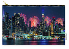 Carry-all Pouch featuring the photograph Nyc Fireworks Celebration by Susan Candelario