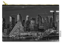 Carry-all Pouch featuring the photograph Nyc Golden Empire Bw by Susan Candelario