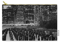 Carry-all Pouch featuring the photograph Nyc Skyline Bw by Laura Fasulo