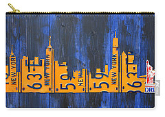Nyc New York City Skyline With Lady Liberty And Freedom Tower Recycled License Plate Art Carry-all Pouch