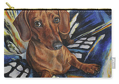 Carry-all Pouch featuring the painting Dachshund Time Lord by Kim Lockman