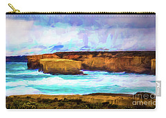Carry-all Pouch featuring the photograph Ocean Cliffs by Perry Webster