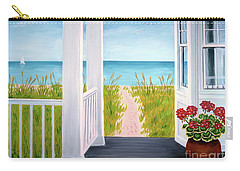 Ocean Porch View And Geraniums Carry-all Pouch