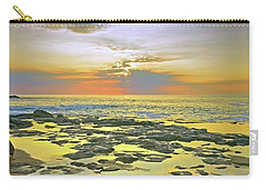 Carry-all Pouch featuring the photograph Ocean Puddles At Sunset On Molokai by Tara Turner
