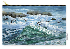 Ocean Waves And Pelicans Carry-all Pouch