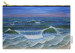Carry-all Pouch featuring the painting Ocean Waves Dance At Dawn Original Acrylic Painting by Georgeta Blanaru