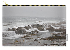 Carry-all Pouch featuring the photograph Ocean Waves Over Rocks by Frank Stallone