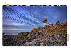 Carry-all Pouch featuring the photograph October Sky At West Quoddy Head Light by Rick Berk