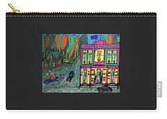 Carry-all Pouch featuring the drawing Oddfellows Building. Historical Menominee Art. by Jonathon Hansen