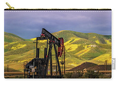 Carry-all Pouch featuring the photograph Oil Field And Temblor Hills by Marc Crumpler