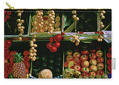 Oil Painted Faux Paris Fruit Display Carry-all Pouch