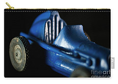 Carry-all Pouch featuring the photograph Old Blue Toy Race Car by Wilma Birdwell