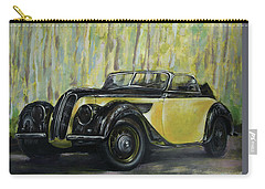 Old Bmw Yellow Car Painted On Leatheder, Vintage 1938 Carry-all Pouch by Vali Irina Ciobanu