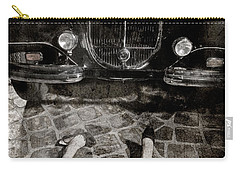 Carry-all Pouch featuring the photograph Old Car And The Girl. by Andrey  Godyaykin