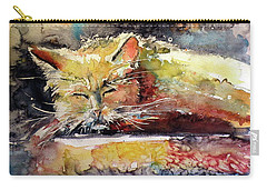 Old Cat Resting Carry-all Pouch by Kovacs Anna Brigitta