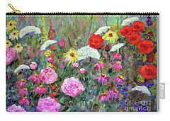 Carry-all Pouch featuring the painting Old Fashioned Garden by Claire Bull