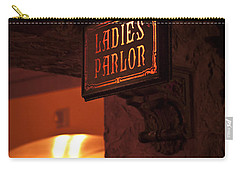 Carry-all Pouch featuring the photograph Old Fashioned Ladies Parlor Sign by Carolyn Marshall