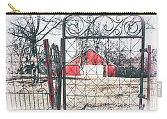 Carry-all Pouch featuring the photograph Old Gate Red Barn View by Anna Louise