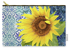Carry-all Pouch featuring the painting Old Havana Sunflower - Cobalt Blue Tile Painted Over Wood by Audrey Jeanne Roberts