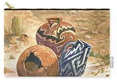 Carry-all Pouch featuring the painting Old Indian Pottery by Marilyn Smith