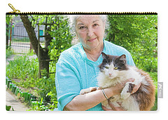 Old Lady With Cat Carry-all Pouch