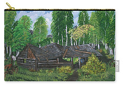 Carry-all Pouch featuring the painting Old Log Cabin And   Memories by Sharon Duguay