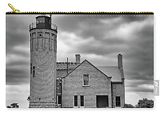 Old Mackinac Point Light Gray Day Bw Carry-all Pouch by Mary Bedy