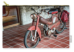Carry-all Pouch featuring the photograph Old Motorcycle In The Monastery Of Santo Estevo De Ribas Del Sil by Eduardo Jose Accorinti
