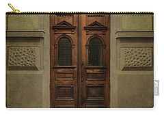 Old Ornamented Wooden Gate In Brown Tones Carry-all Pouch by Jaroslaw Blaminsky
