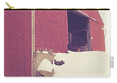 Carry-all Pouch featuring the photograph Old Red Barn In Winter by Edward Fielding