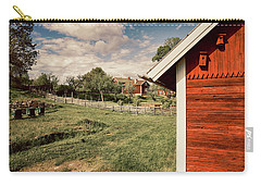 Carry-all Pouch featuring the photograph Old Red Farm Set In A Rural Nature Landscape by Christian Lagereek
