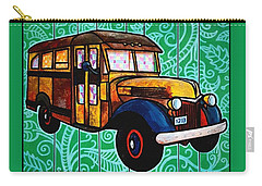 Old Rusted School Bus With Quilted Windows Carry-all Pouch by Jim Harris