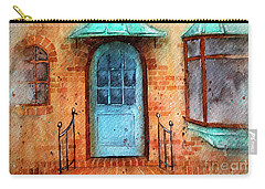 Old Service Station With Blue Door Carry-all Pouch