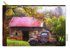 Carry-all Pouch featuring the photograph Old Smoky Truck And Barn by Debra and Dave Vanderlaan