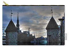 Carry-all Pouch featuring the mixed media  Old Tallin Sureal by Yury Bashkin