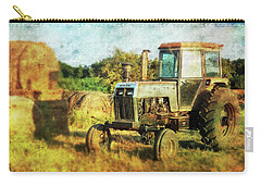 Carry-all Pouch featuring the photograph Old Tractor And Hay Rolls by Anna Louise