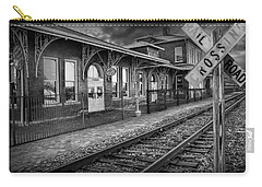 Old Train Station With Crossing Sign In Black And White Carry-all Pouch