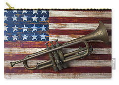 Old Trumpet On American Flag Carry-all Pouch by Garry Gay