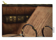 Old Vintage Books With Reading Glasses Carry-all Pouch