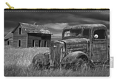 Old Vintage Pickup In Black And White By An Abandoned Farm House Carry-all Pouch