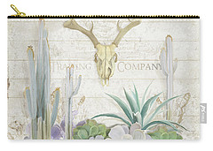 Carry-all Pouch featuring the painting Old West Cactus Garden W Deer Skull N Succulents Over Wood by Audrey Jeanne Roberts