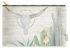 Carry-all Pouch featuring the painting Old West Cactus Garden W Longhorn Cow Skull N Succulents Over Wood by Audrey Jeanne Roberts