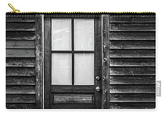 Old Wood Door And Light Black And White Carry-all Pouch by Terry DeLuco