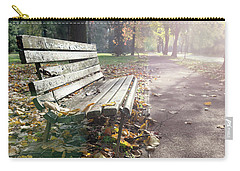 Rustic Wooden Bench During Late Autumn Season On Bright Day Carry-all Pouch