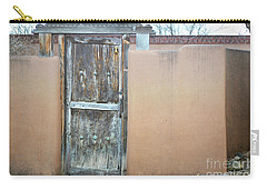 Carry-all Pouch featuring the photograph Old Wooden Door Adobe by Andrea Hazel Ihlefeld