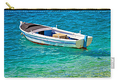 Old Wooden Fishermen Boat On Turquoise Beach Carry-all Pouch
