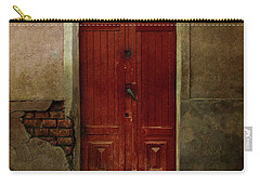Old Wooden Gate Painted In Red  Carry-all Pouch by Jaroslaw Blaminsky